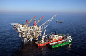 Aerial view of Israeli gas drilling field 'Tamar'